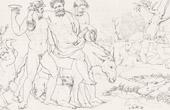 Stich von Griechische Mythologie - Satyrn - Griechischer Gottheiten - Italienische Renaissance - Silen, Gefährte von Dionysos, Gott des Weins (Raffaello Sanzio oder Raffael)