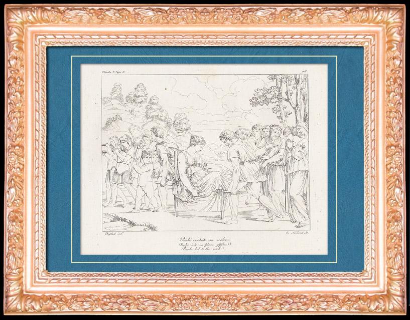 Gravures Anciennes & Dessins | Mythologie - Renaissance Italienne - Les Amours de Psyché et de Cupidon (Eros) : Psyché Conduite au Rocher (Raffaello Sanzio dit Raphaël) | Gravure sur cuivre | 1805