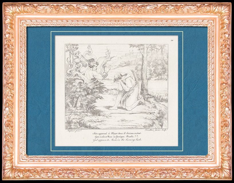 Antique Prints & Drawings   Italian Renaissance - Bible - God Appears to Moses in the Burning Bush (Raffaello Sanzio or Raphael)   Copper engraving   1805