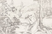 Stich von Italienische Renaissance - Bibel - Gött Erscheint Mose im Feurigen Busche (Raffaello Sanzio auch Raffael)