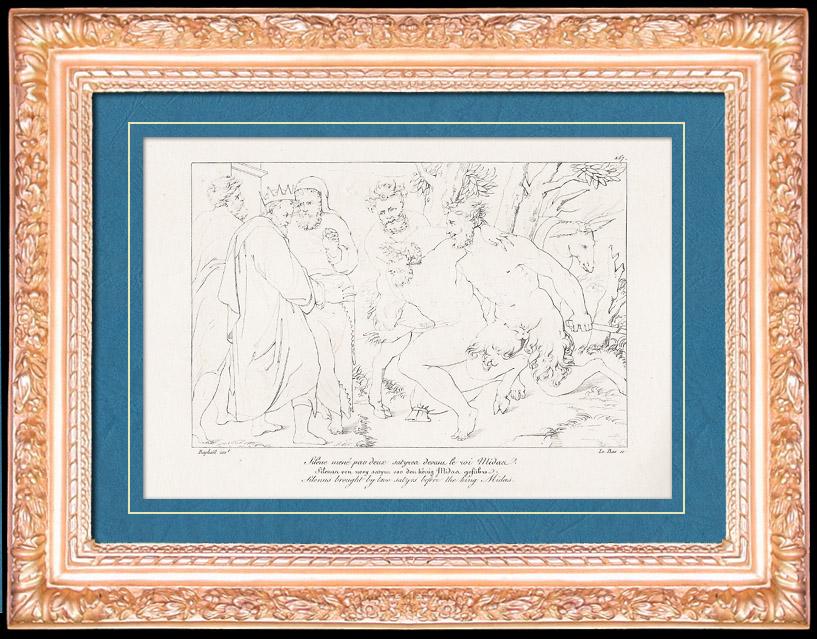 Antique Prints & Drawings | Greek Mythology - Greek Gods - Italian Renaissance - Silenus Brought by Two Satyrs Before the King Midas (Raffaello Sanzio called Raphael) | Copper engraving | 1805