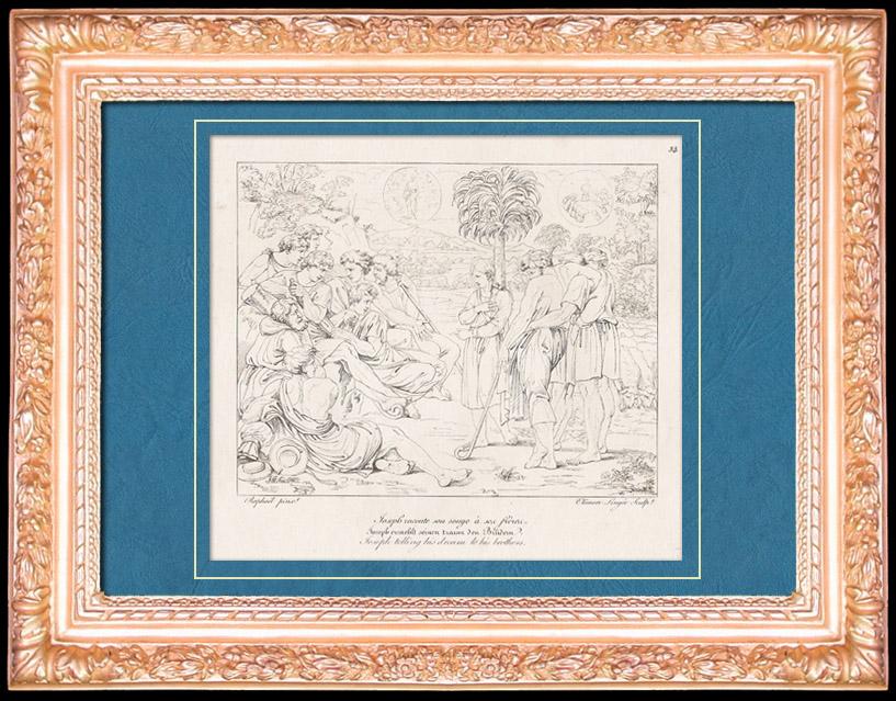 Antique Prints & Drawings | Italian Renaissance - Bible - Joseph Telling His Dream to His Brothers (Raffaello Sanzio or Raphael) | Copper engraving | 1805
