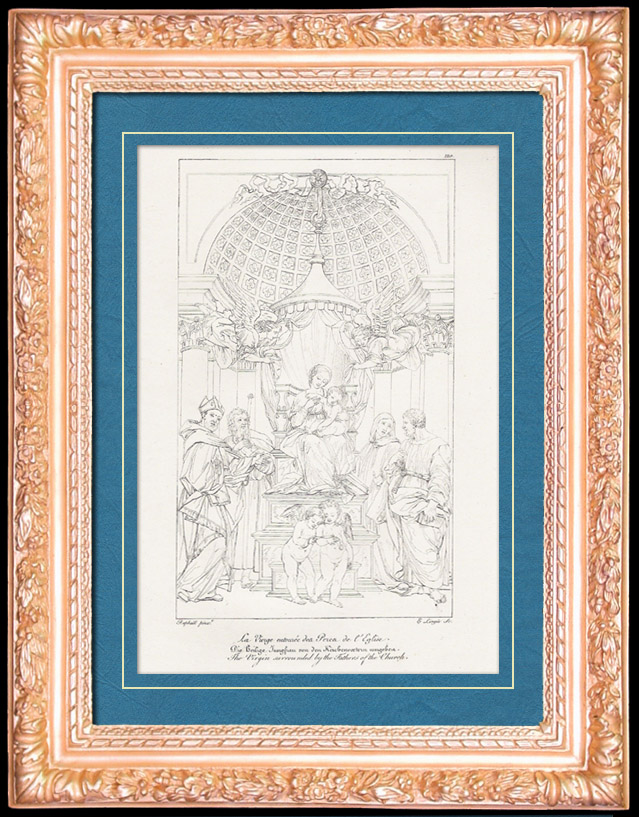 Antique Prints & Drawings | Italian Renaissance - Madonna - The Virgin Surrounded by the Fathers of the Church (Raffaello Sanzio or Raphael) | Copper engraving | 1805
