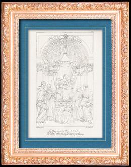 Italienische Renaissance - Madonna - Die Heilige Jungfrau von den Kirchenvätern Umgeben (Raffaello Sanzio auch Raffael)