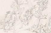 Stich von Römische Mythologie - Gott - Göttin - Italienische Renaissance - Jupiter von Juno Begleiter Nimmt Besitz des   Himmels Thron (Raffaello Sanzio oder Raffael)