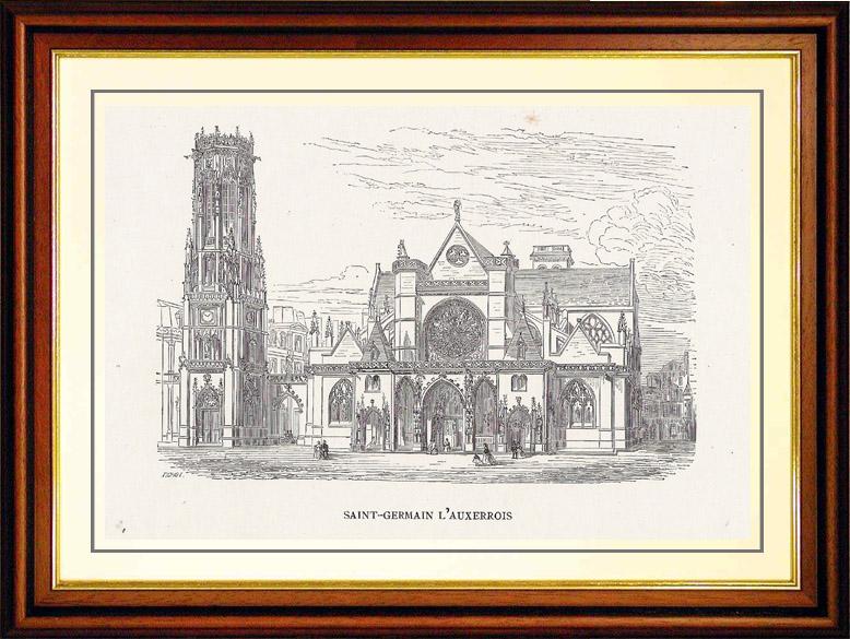 Gravures Anciennes & Dessins   Vue de Paris - Monuments Historiques de Paris - Eglise Saint Germain l'Auxerrois   Gravure sur bois   1870