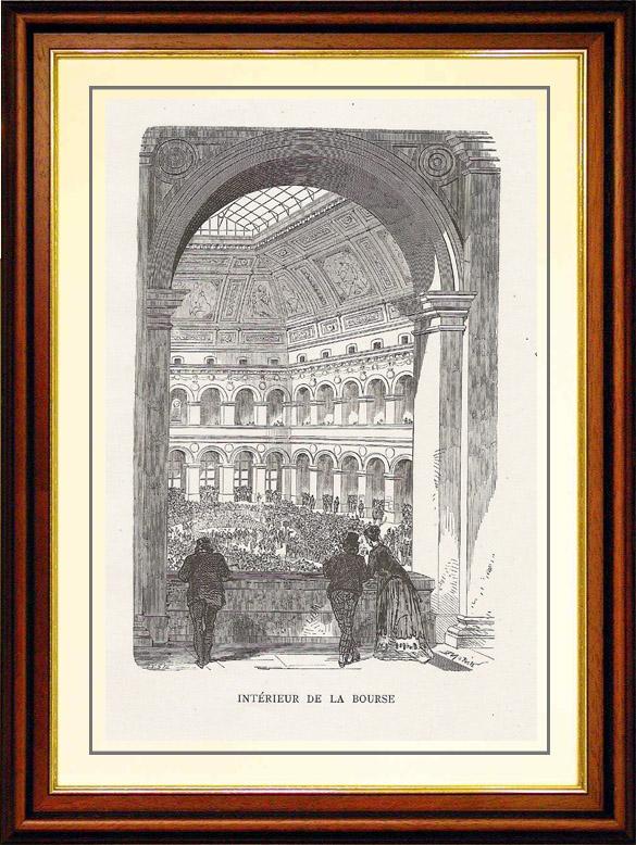 Gravures Anciennes & Dessins   Vue de Paris - Monuments Historiques de Paris - Palais Brongniart - Intérieur de la Bourse de Paris   Gravure sur bois   1867