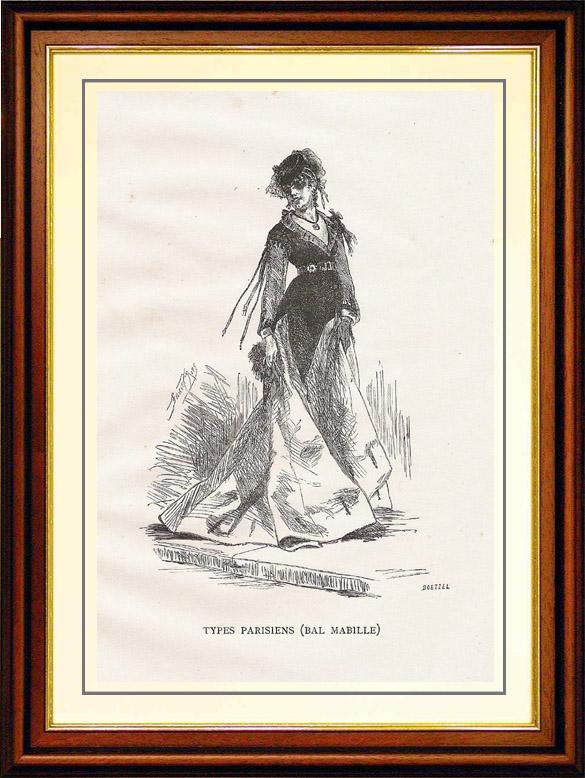 Antique Prints & Drawings   View of Paris - Historical Monuments of Paris - Mode - 19th Century Parisian Women's Fashion (Ball - Bal Mabille)   Wood engraving   1867