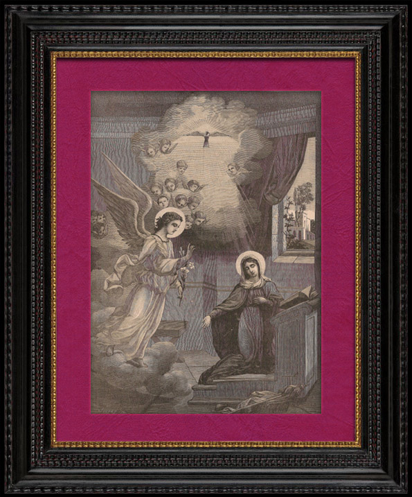 Gravures Anciennes & Dessins | L'Incarnation : Annonciation de l'Ange Gabriel à la Sainte Vierge Marie à Nazareth | Gravure sur bois | 1891