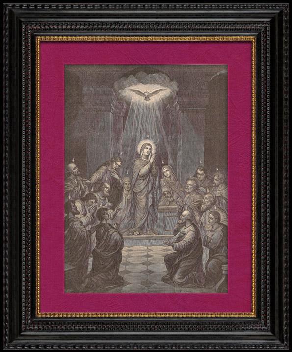 Gravures Anciennes & Dessins   La Pentecôte - Le Cénacle de Jérusalem - Sainte Vierge Marie - Apôtres et Disciples   Gravure sur bois   1891