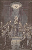 Pentecost - The Cenacle of Jerusalem - The Blessed Virgin Mary - Apostles and Disciples