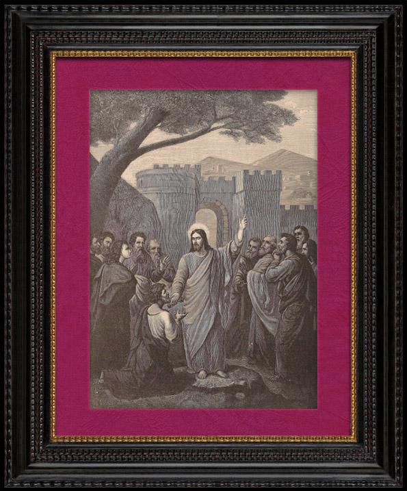 Gravures Anciennes & Dessins | La Rémission des Péchés - Jésus Christ remettant les Clés à Saint Pierre | Gravure sur bois | 1891