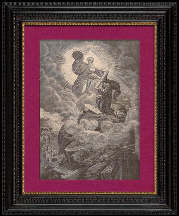 Stampe antiche dieci comandamenti detti anche decalogo - Le tavole della legge ...