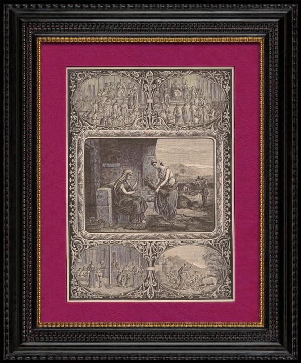 Gravures Anciennes & Dessins | Ruth et Noémi - Le Pape Entouré de Cardinaux, d'Evêques et de Prêtres | Gravure sur bois | 1891