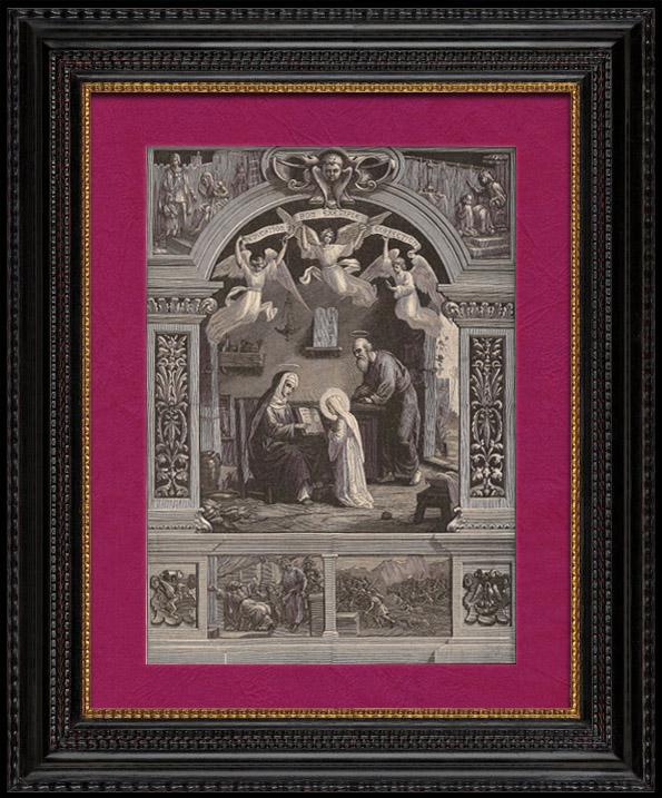 Gravures Anciennes & Dessins   Sainte Anne Apprenant à Lire à la Sainte Vierge Marie - Saint Joachim - Anges   Gravure sur bois   1891