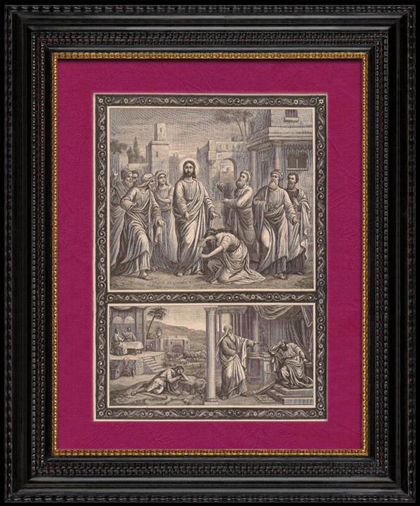 Gravures Anciennes & Dessins | Neuvième Commandement : Tu Ne Désireras Pas La Femme De Ton Prochain - Jésus Christ | Gravure sur bois | 1891
