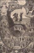 Grabado antiguo - Satanás Tienta a Jesús Cristo en el Desierto - Lucifer - Demonio