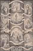 Antik etsning - Angelus - Angelusringning - Änglar - Heliga Jungfru Maria