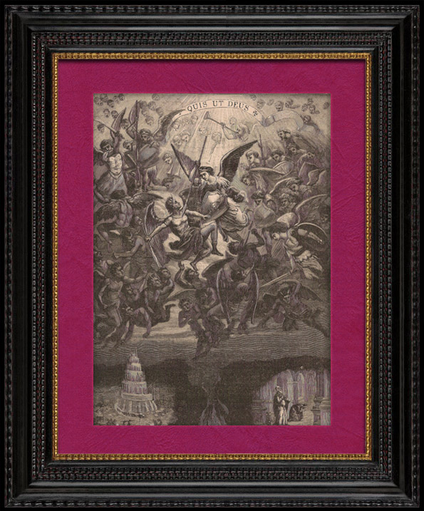 Antique Prints & Drawings   Deadly sins - Archangel Michael - Angels - Devil - Satan - Lucifer - Demon - The Tower of Babel   Wood engraving   1891
