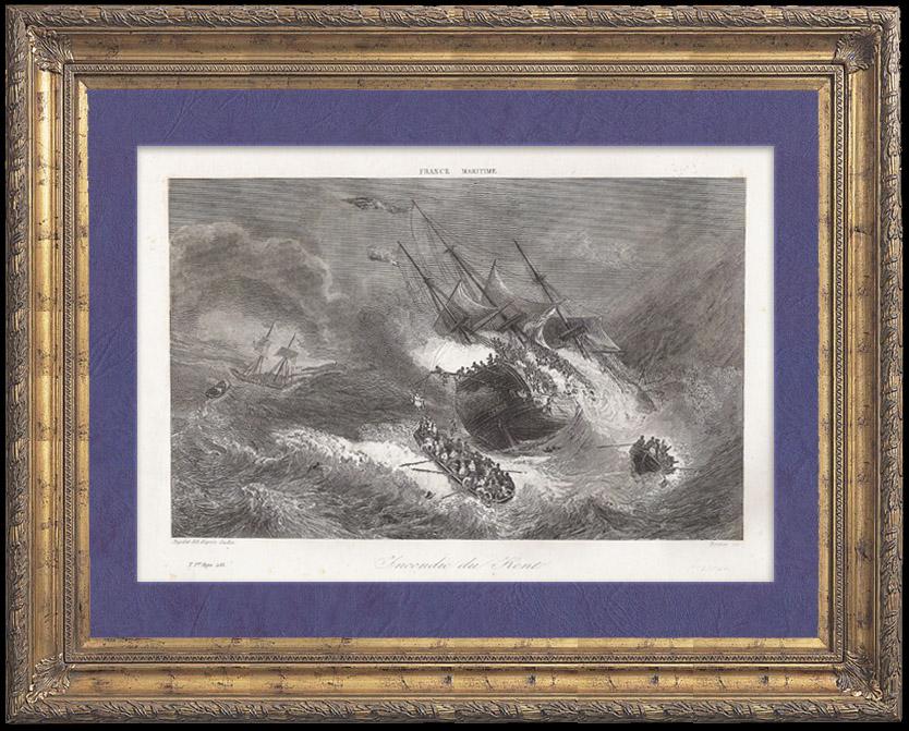 Gravures Anciennes & Dessins   Naufrage d'un Vaisseau Anglais de la Compagnie des Indes - Incendie du Kent   Taille-douce   1842