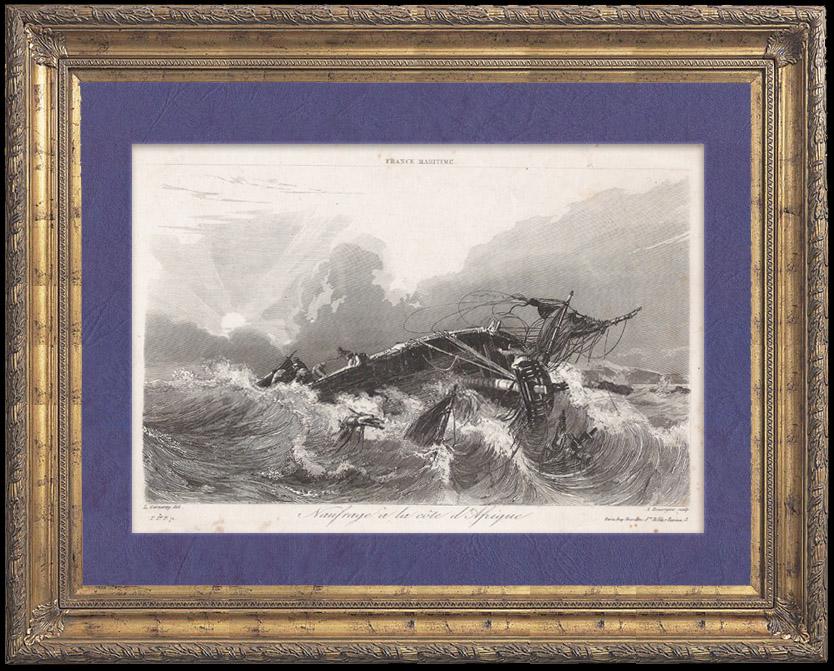 Stampe Antiche & Disegni | Naufragio di un Veliero Inglese Woodrop Sims al largo delle Coste Africane | Stampa calcografica | 1842