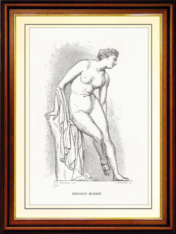 Gravures Anciennes & Dessins   Mythologie Grecque - Orphée - Eurydice Blessée par un Serpent   Gravure sur bois   1867