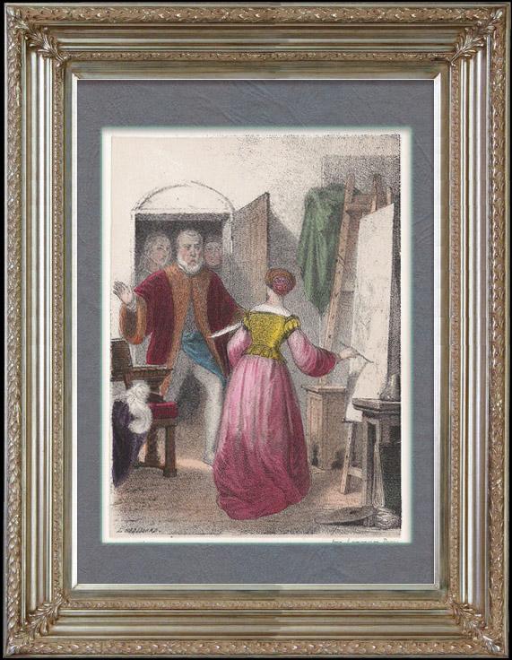 Gravures Anciennes & Dessins | L'Enfance de Marietta Tintorella, Ecrivain Italien | Lithographie | 1855