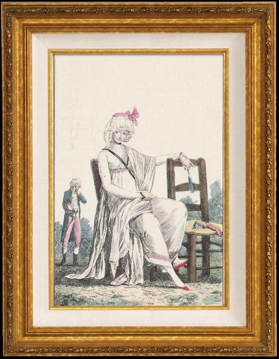 Gravures Anciennes & Dessins   Gravure de Mode Française - Romantisme - Bonnet du Matin et Châle Transparent - Chaise Vacante   Gravure   1930