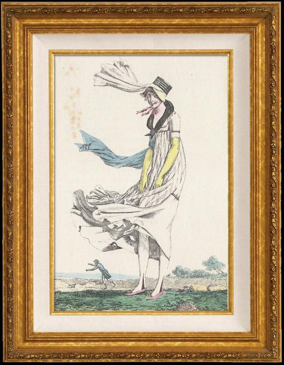 Gravures Anciennes & Dessins | Gravure de Mode Française - Romantisme - Fichu Noir et Tablier de Gaze - Ah Quel Vent ! | Gravure | 1930