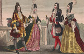 French Fashion and Military Costumes - 18th Century Style XVIII - Court of the King of France - Louis XIV (1710)