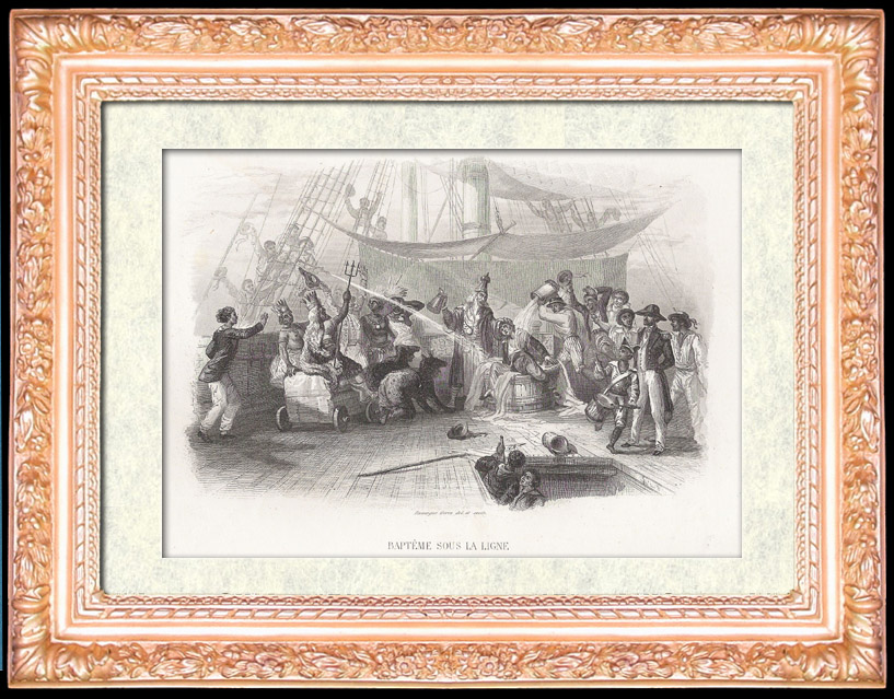 Antique Prints & Drawings   Tradition - Baptism of the Sailors Who Cross the Equator for the First Time   Intaglio print   1847