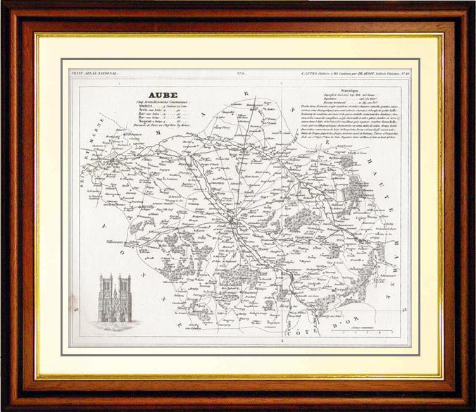 Gravures Anciennes & Dessins | Carte du Département de l'Aube (France) | Taille-douce | 1835