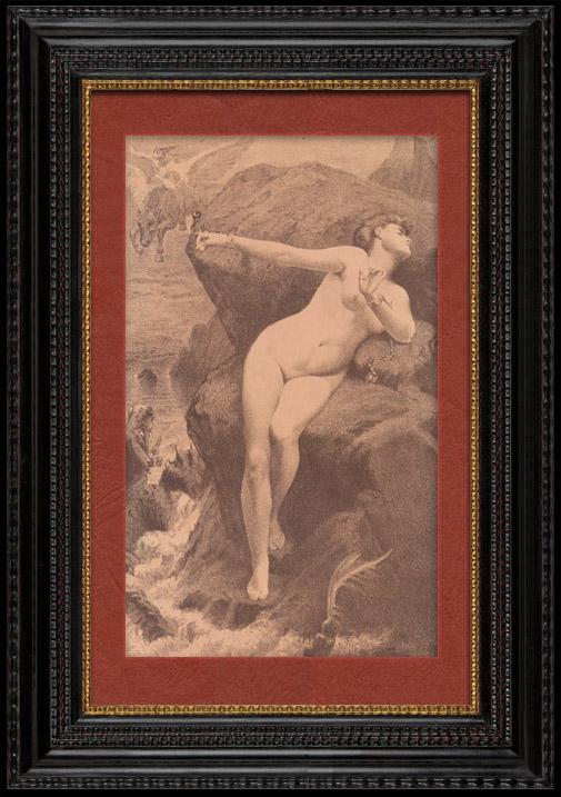 Grabados & Dibujos Antiguos | Desnudo Artístico - Arte Erótico - Mitología Griega - Andrómeda, Perseo y el Monstruo Marino Ceto (Charles Alexandre Coessin De La Fosse) | Litografía | 1901
