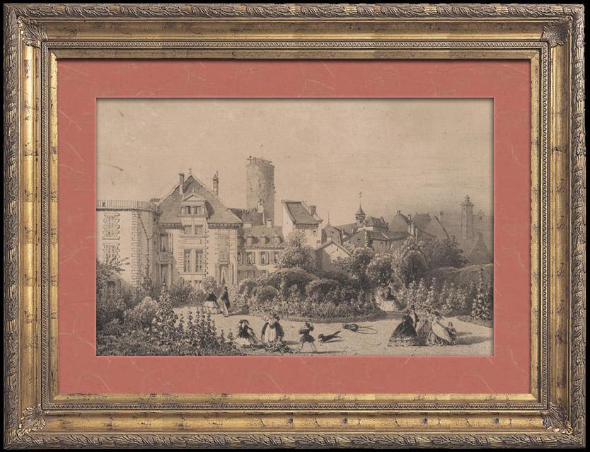 Gravures Anciennes & Dessins   Pavillon Sévigné - Manoir de Madame de Sévigné à Vichy (France)   Lithographie   1860