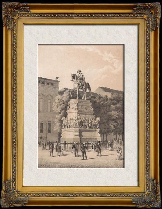 Gravures Anciennes & Dessins | Monument de Frédéric II de Prusse, dit Frédéric le Grand à Berlin (Allemagne) | Lithographie | 1854