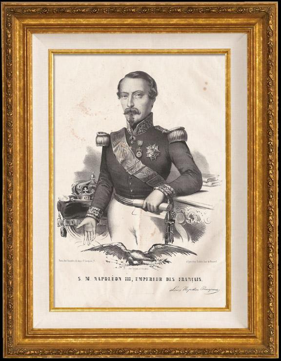 Gravures Anciennes & Dessins   Portrait de Napoléon III, Empereur des Français (1808-1873)   Lithographie   1853