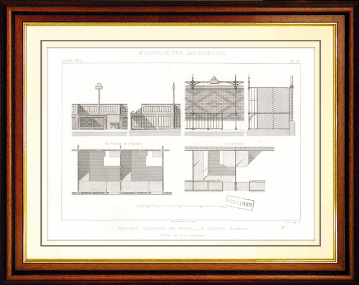 Antique Prints & Drawings   Drawing of Architect - Architecture - Markets Hall of Tours (M. Guérin)   Intaglio print   1870