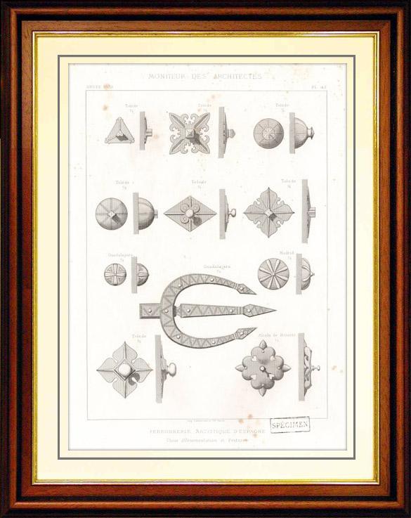Gravures Anciennes & Dessins | Dessin d'Architecte - Architecture - Ferronnerie Artistique d'Espagne - Tolède - Guadalajara - Madrid et Alcala de Hénarès | Taille-douce | 1870