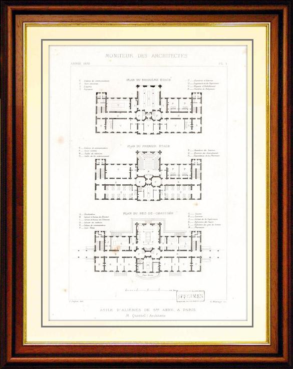 Gravures Anciennes & Dessins   Dessin d'Architecte - Architecture - Asile d'Aliénés de Sainte Anne à Paris (M. Questel)   Taille-douce   1870
