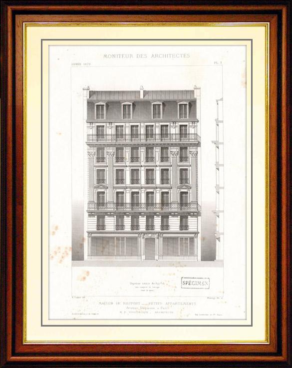 Gravures Anciennes & Dessins   Dessin d'Architecte - Architecture - Maison de Rapport - Immeuble Avenue Duquesne à Paris (M. P. Vigouroux)   Taille-douce   1870