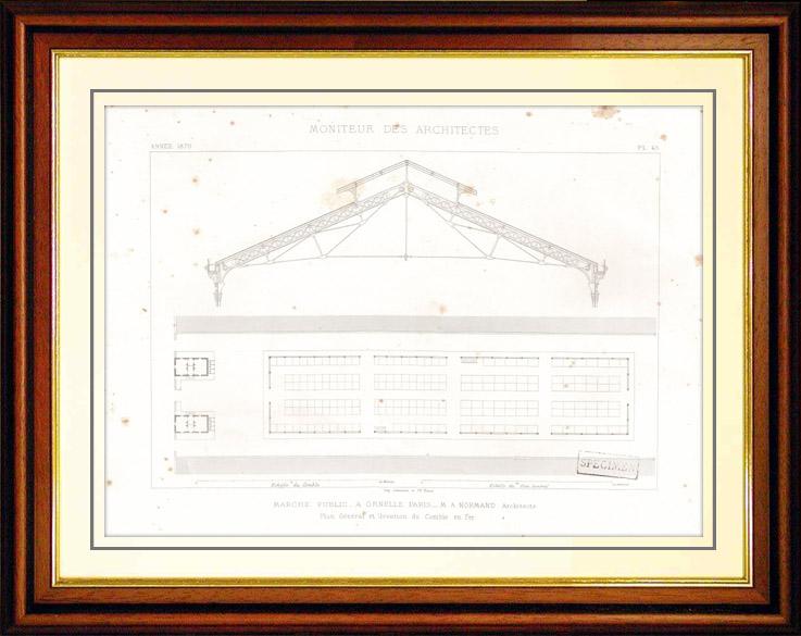 Gravures Anciennes & Dessins | Dessin d'Architecte - Architecture - Marché Public de Grenelle à Paris (M. A. Normand) | Taille-douce | 1870