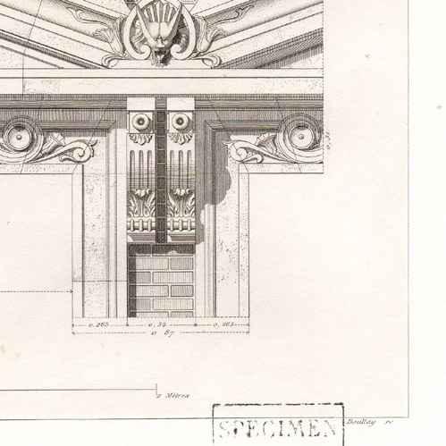 Stampe antiche stampa di disegno di architetto for Disegno della casa di architettura