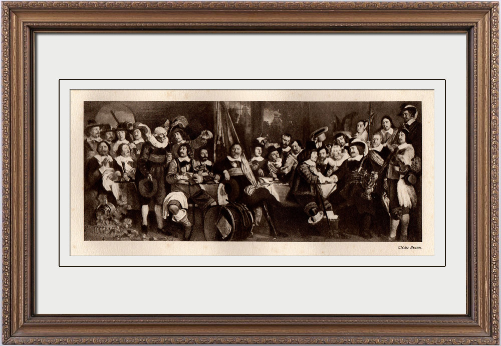 Gravures Anciennes & Dessins | Banquet de la Garde Civique en l'Honneur de la Paix du Münster (Bartholomeus van der Helst) | Héliogravure | 1910