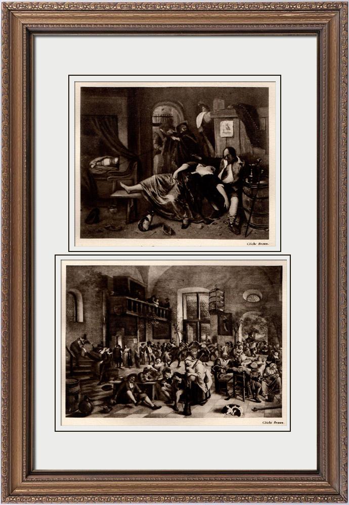 Gravures Anciennes & Dessins | Après Boire (Jan Steen) - Fête dans une Auberge (Jan Steen) | Héliogravure | 1910