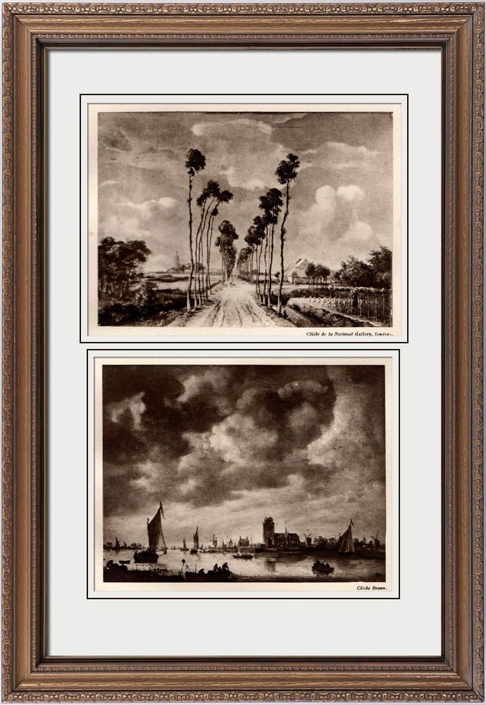 Gravures Anciennes & Dessins | L'Avenue de Middelharnis (Meindert Hobbema) - Vue de Dordrecht en Hollande (Jan van Goyen) | Héliogravure | 1910