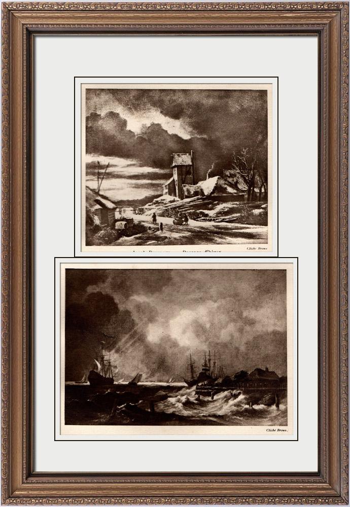 Gravures Anciennes & Dessins | Paysage d'Hiver (Jacob van Ruisdael) - La Tempête (Jacob van Ruisdael) | Héliogravure | 1910