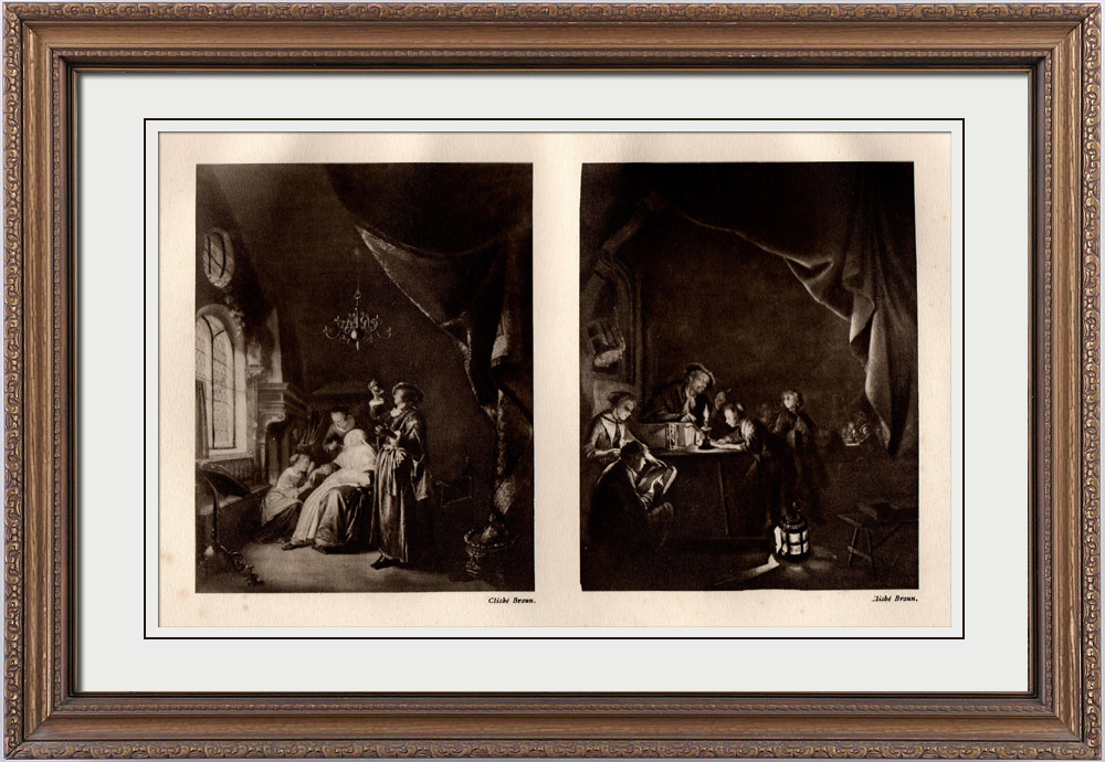 Antique Prints & Drawings   The Dropsical Woman (Gerard Dou) - The Night School (Gerard Dou)   Heliogravure   1910