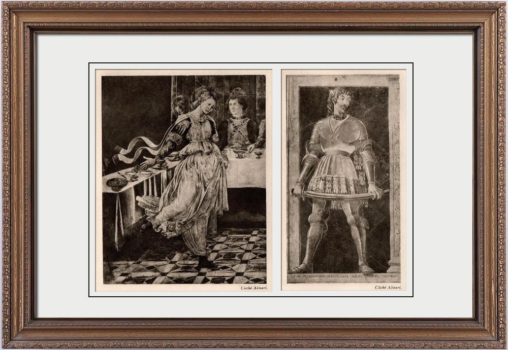 Antique Prints & Drawings | Fresco - Feast of Herod (Fra Filippo Lippi) - Portrait of Filippo Scolari or Pipo of Ozora (Andrea del Castagno) | Heliogravure | 1910