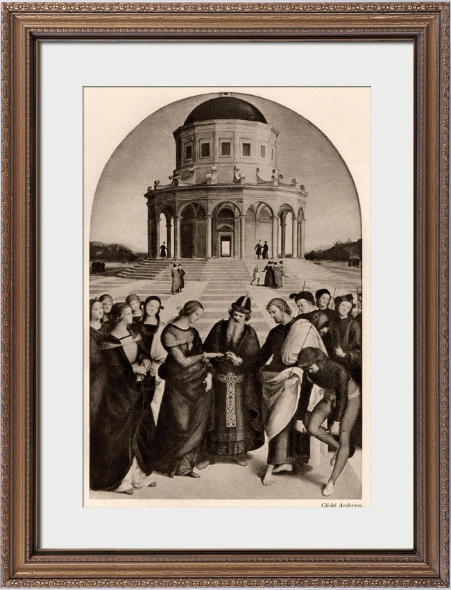 Antique Prints & Drawings   The Marriage of the Virgin Mary (Raffaello Sanzio or Raphael)   Heliogravure   1910