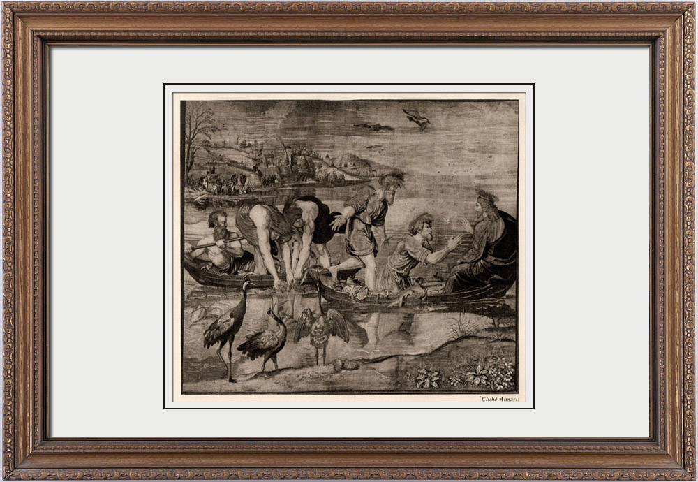 Antique Prints & Drawings | Tapestry - The Miraculous Draught of Fishes (Raffaello Sanzio or Raphael) | Heliogravure | 1910
